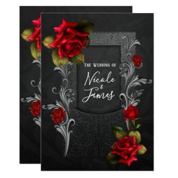 red roses black ornate gothic wedding invitation