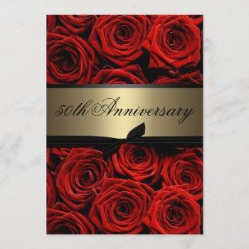 red roses   golden anniversary invitation