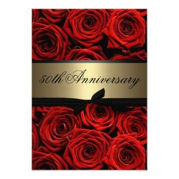 red roses | golden anniversary invitation