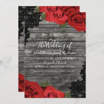 red roses rustic wood black lace wedding invitation