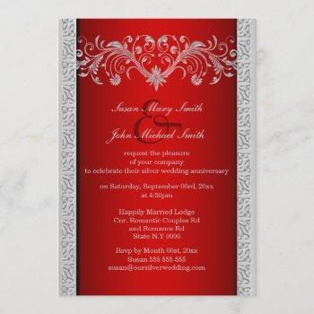 red silver wedding anniversary floral invitation