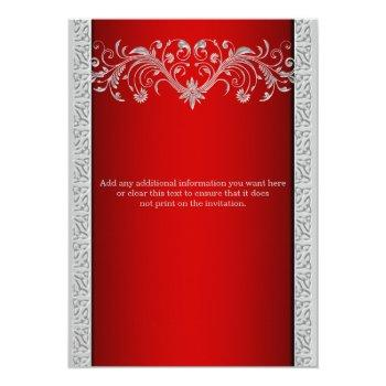 Small Red Silver Wedding Anniversary Floral Invitation Back View