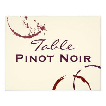red table name card | types of wine theme