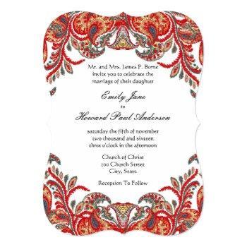 red & teal vintage paisley peacock damask wedding invitation