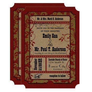 red vintage broadway poster movie ticket wedding invitation