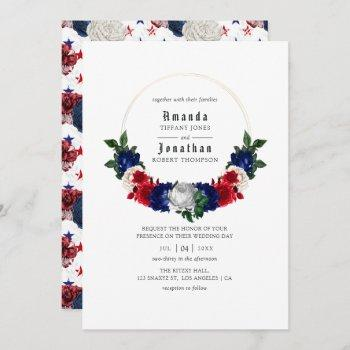 red white and blue fourth of july wedding invitation