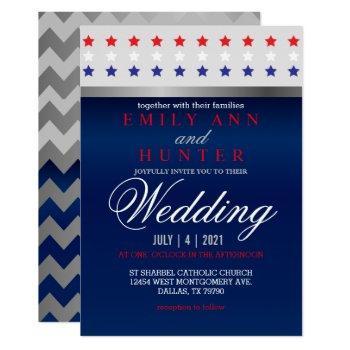 red, white & blue patriotic star wedding invitation