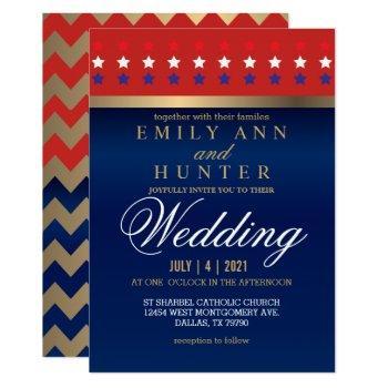 red, white & blue patriotic wedding invitation