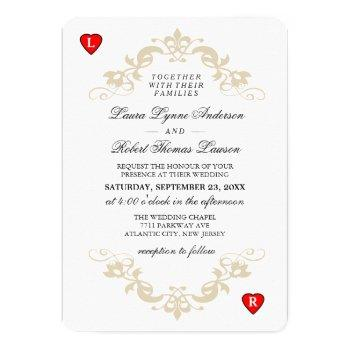 red & white playing card wedding invitation hearts