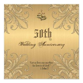 religious anniversary cross rings invitations