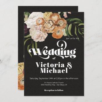 rembrandt autumn fall floral dark & moody wedding invitation