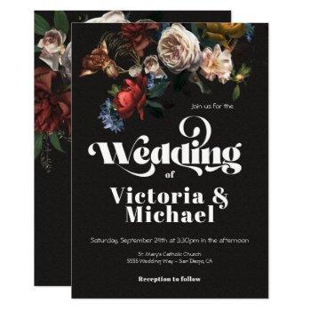 rembrandt floral dark & moody wedding invitation