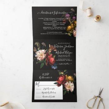 rembrandt floral dark & moody wedding tri-fold invitation