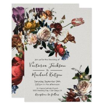 rembrandt floral light & airy wedding invitation