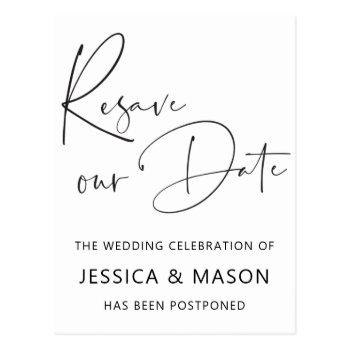 resave the date postponed wedding announcement postcard