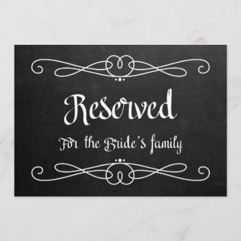 """""""reserved for bride's family"""" wedding sign invitation"""