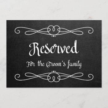 """""""reserved for groom's family"""" wedding sign invitation"""