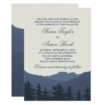 retreat to the mountains formal wedding invitation