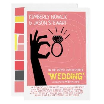 retro 60s movie poster mid-century modern wedding invitation