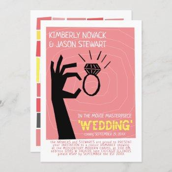retro 60s movie poster mid-century modern wedding invitation