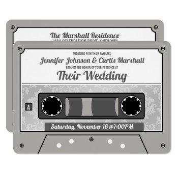 retro cassette tape wedding invitation