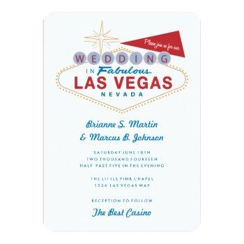 retro las vegas sign casino wedding invitation