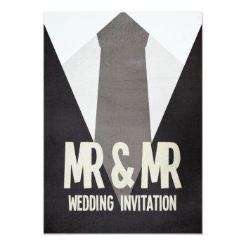 retro mr & mr suit & tie gay wedding invitation