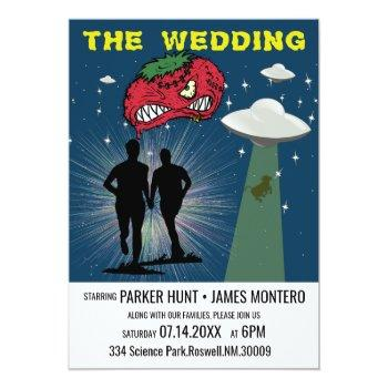 retro sci fi poster gay wedding invitation