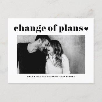 retro typography change of plans photo wedding announcement postcard