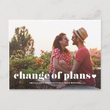 retro typography photo change of plans wedding announcement postcard