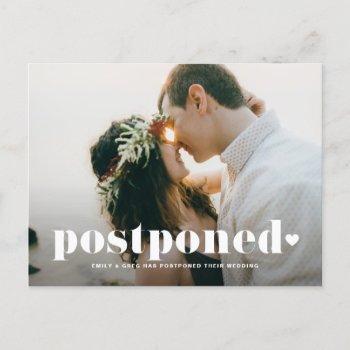 retro typography photo wedding postponement announcement postcard