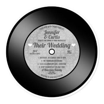 retro vinyl record wedding invitation