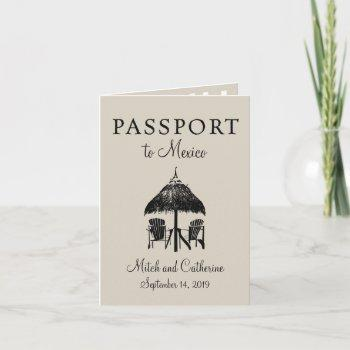 riviera maya mexico passport wedding invitation