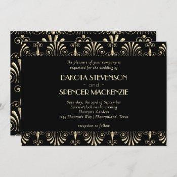 roarin 20s  sepia gold and black art deco wedding invitation