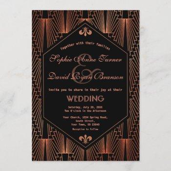 roaring 20s great gatsby copper art deco wedding invitation