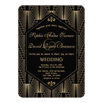 roaring 20s great gatsby vintage art deco wedding invitation