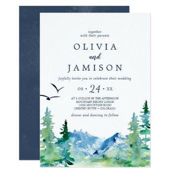 rocky mountain casual destination wedding invitation