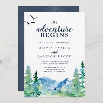 rocky mountain the adventure begins wedding invitation