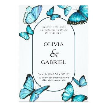 romantic blue watercolor butterflies. airy wedding invitation