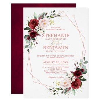 romantic burgundy blush floral rose gold geometric invitation