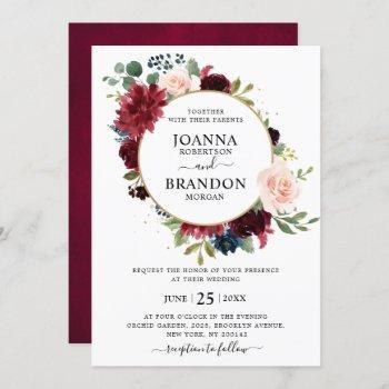 romantic burgundy blush navy blue floral wedding invitation