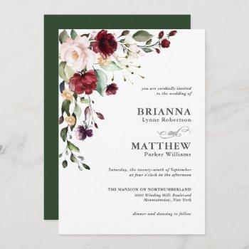 romantic burgundy blush plum green floral wedding invitation