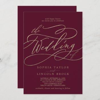 romantic burgundy calligraphy all in one wedding invitation