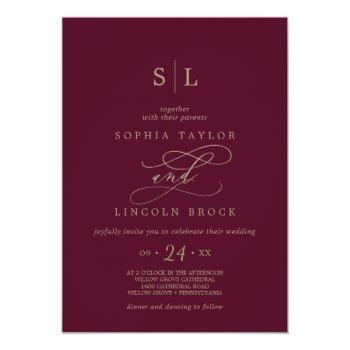 romantic burgundy calligraphy monogram wedding invitation