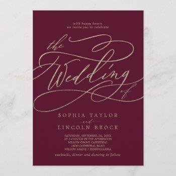 romantic burgundy calligraphy the wedding of invitation
