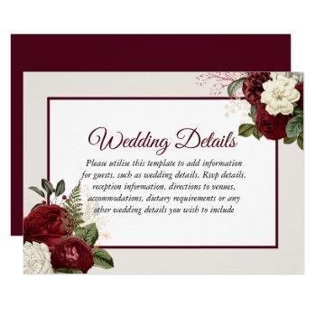 romantic burgundy floral wedding reception details invitation