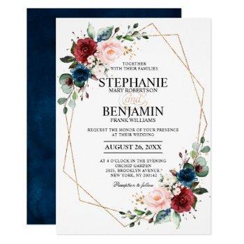 romantic burgundy navy blue floral geometric invitation
