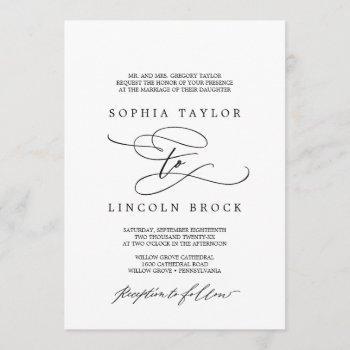 romantic calligraphy | flourish formal wedding invitation