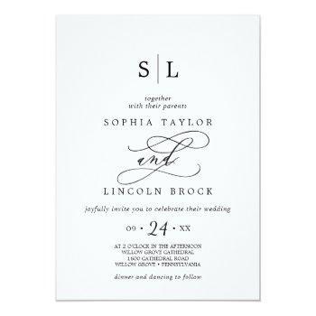 romantic calligraphy | flourish monogram wedding invitation