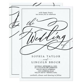 romantic calligraphy | frame all in one wedding invitation
